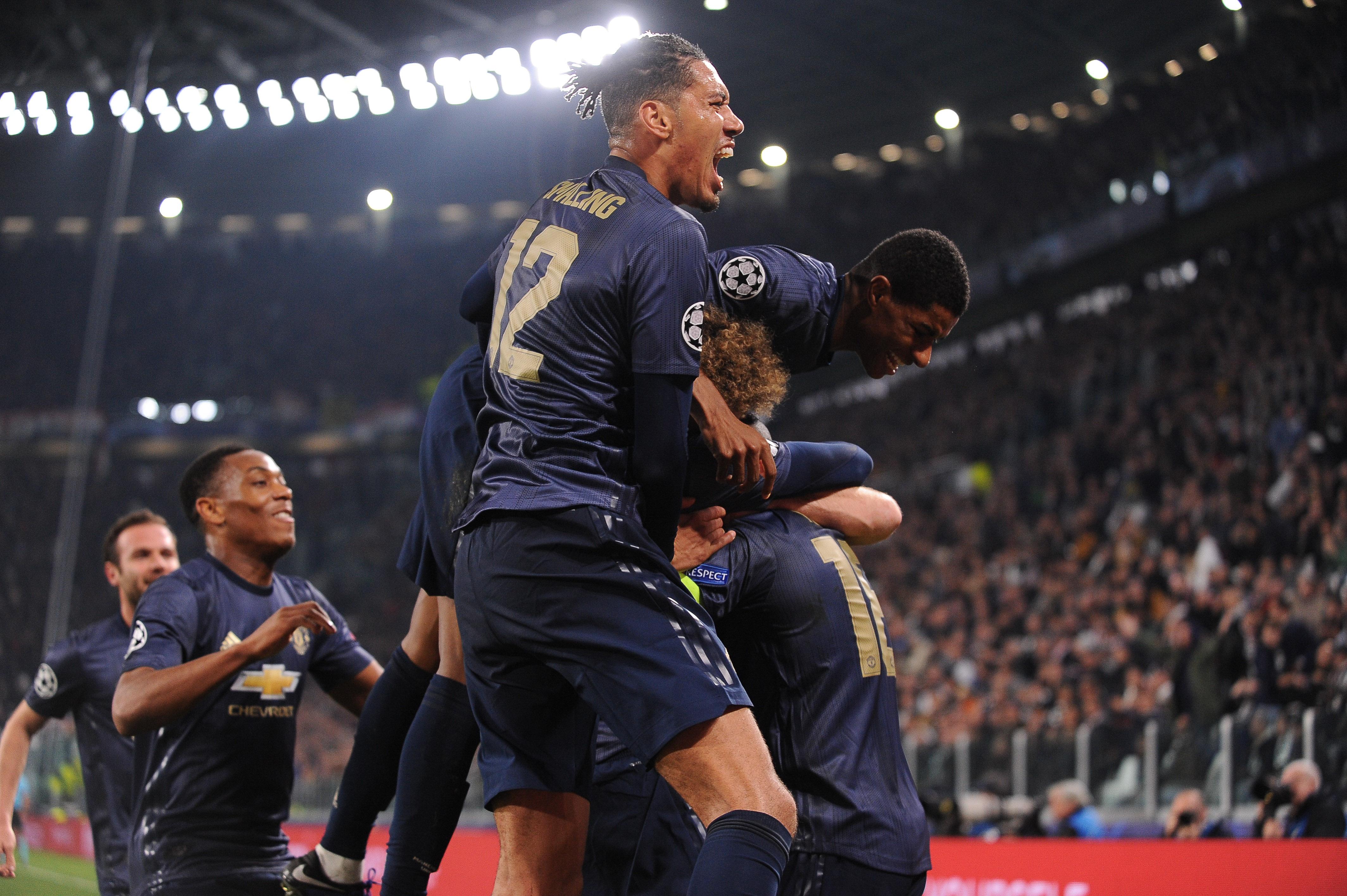 07.11.2018, Turyn, Liga Mistrzow 2018/2019, Juventus Turyn - Manchester United N/z: radosc pilkarzy Manchesteru United, Foto Norbert Barczyk / PressFocus